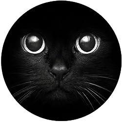 Cute Cat Face Black Fashion Design Circular Mousepad With Rubber 20cm
