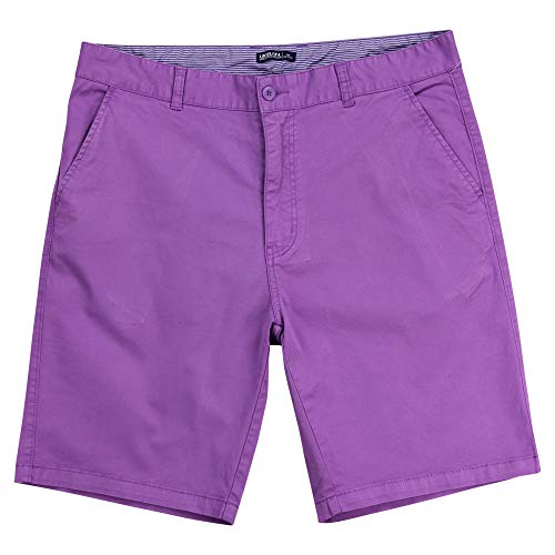 Mens Flat Front Stretch 10 Inch Inseam Shorts (Purple, Size 38)