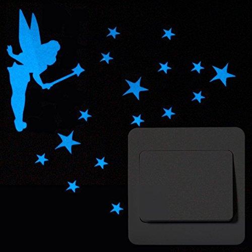 (Vacally Wall Decor Stick Wallpaper Cute Cartoon Switch Luminous Fluorescent Removable Sticker Kids Living Room Bedroom (Blue)