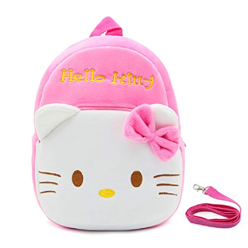 JCBD Upgraded Kids Toddler Plush Backpack with Safety Harness Leash - Playful Preschool Kids Lunch Bag (Pink Hello Kitty)