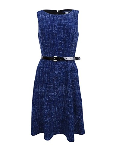 Tommy Hilfiger Women's Denim-Print Belted Jersey Dress (4, Midnight) ()
