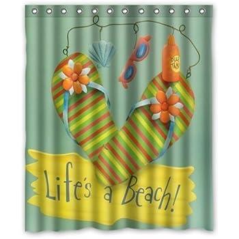 Fashionable Bathroom Collection Custom Waterproof Flip Flops Shower Curtain  (60  Flip Flop Shower Curtain