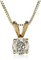 "10k Yellow Gold Round Diamond Solitaire Pendant Necklace (1/4 cttw), 18"""