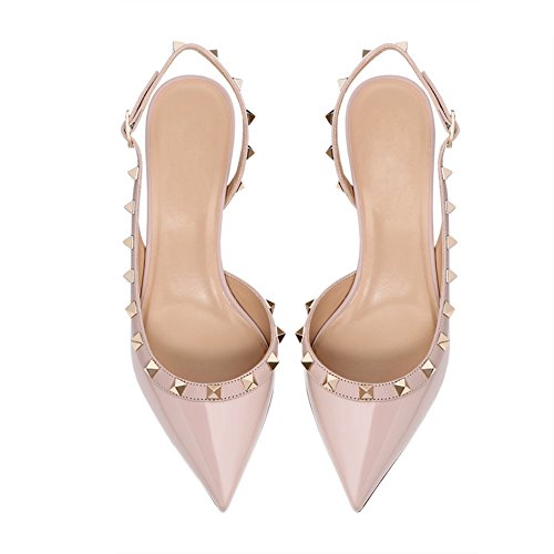 VOCOSI Women's Mid-Heel Kitten Heel Pointed Closed Toe Slingbacks Rivets Pumps Apricot(manmade Patent With Gold Rivets) 08tbJ4u