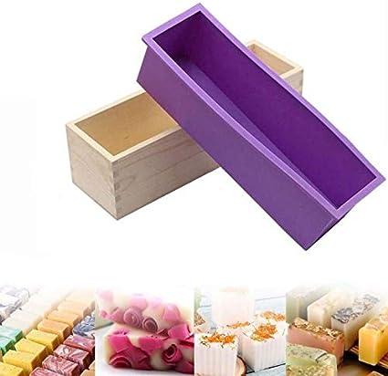Verdelife Molde de silicona para jabón, molde rectangular para jabón frío con caja de madera, para hacer suministros, hacer jabón, velas (púrpura)