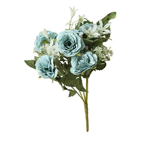 Yezijin Artificial Fake Flowers, 8 Heads Artificial Fake Peony Silk Flower Bridal Hydrangea Home Wedding Decor (Blue) ()