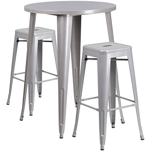 Flash Furniture 30'' Round Silver Metal Indoor-Outdoor Bar Table Set with 2 Square Seat Backless Stools by Flash Furniture