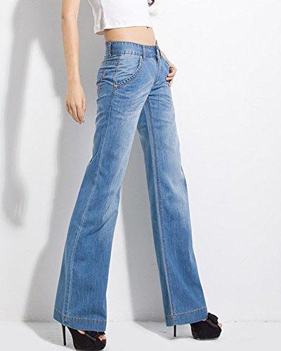 Long Pantalon clair Bleu Large Bootcut Flare Taille Denim Haute Looks Pattes Jeans Mince Femme 07PHXqO