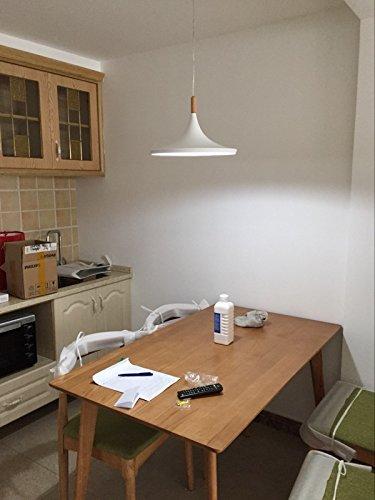 BOKT 60W Single Head Edison Lights Retro Rustic Ceiling Pendant Light fixtures White Aluminum Hanging Chandelier Lighting for Kitchen Living Room Bedroom Home Decor (Style C) by BOKT (Image #6)