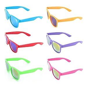 MJ Eyewear Neon Retro Sunglasses Color Mirror Lens (Pack of 6, Color Mirror )