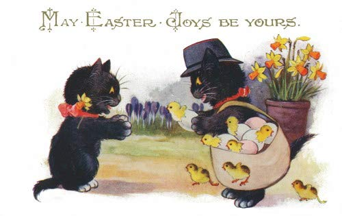 Postcard Photo Easter (1920s French Comique Lucky Black Cat Series~Kitty Cat With Bag of Hatching Chicks Gives One to Kitten~Daffodils~Crocus Flowers~6 pack NEW Matte Vintage Picture Large Blank Note Cards with Envelopes)