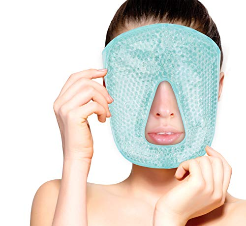 Hot and Cold Therapy Gel Bead Full Facial Mask by FOMI Care | Ice Face Mask for Migraine Headache, Stress Relief | Reduces Eye Puffiness, Dark Circles | Fabric Back (Full Face w/o Eye Holes) ()