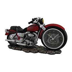 Resin Desk Clocks Time To Ride Red Motorcycle Route 66 Desk Clock 10 Inch 10 X 5.5 X 3 Inches Red