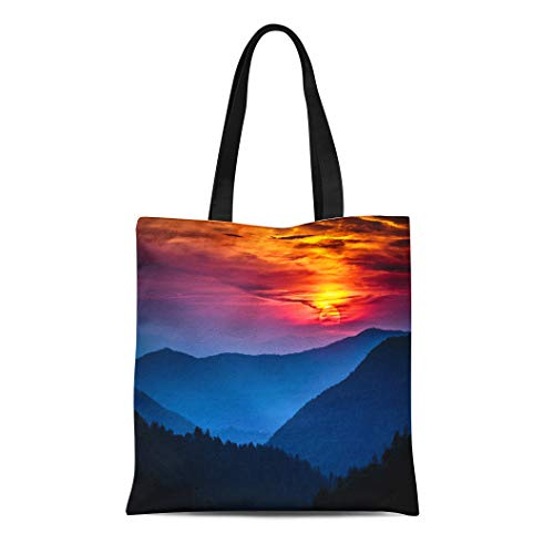 Semtomn Canvas Tote Bag Great Smoky Mountains National Park Scenic Sunset Landscape Vacation Durable Reusable Shopping Shoulder Grocery Bag -