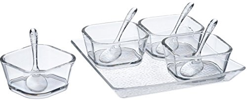 - 9-Piece Serving/Condiment Bowls, With Spoons & Tray Set - Clear Acrylic, Shatterproof, Dishwasher Safe And BPA-Free