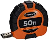 Keson ST18M503X Closed-ABS Housing Steel Tape Measures with Speed Rewind (Graduations: ft, in, 1/8 & cm, mm), 50-Foot/15M