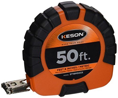 (Keson ST18M503X Closed-ABS Housing Steel Tape Measures, Speed Rewind (Graduations: ft, in, 1/8 & cm, mm), 50-Foot / 15M )