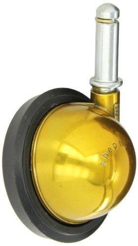 Shepherd-Saturn-Series-3-Diameter-Rubber-Wheel-Swivel-Ball-Caster-716-Diameter-x-1-716-Length-Grip-Ring-Stem-100-lbs-Capacity-Bright-Brass-Finish