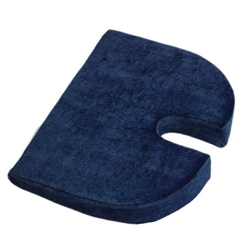 RelaxoBak Deluxe Dual Layer Orthopedic Wedge Seat Cushion with Machine Washable Cover - Alleviates Pressure and Pain from Coccydynia, Sciatica and Hip Pain (Navy Blue - Dual Wedge
