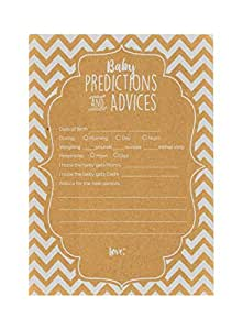 """60-Pack Gender Prediction Cards (Chevron) 5"""" x 7"""". Gender Neutral Baby Prediction Cards for Gender Reveal & Baby Shower, Rustic Baby Prediction and Advice Cards, Party Favors for New Parents"""