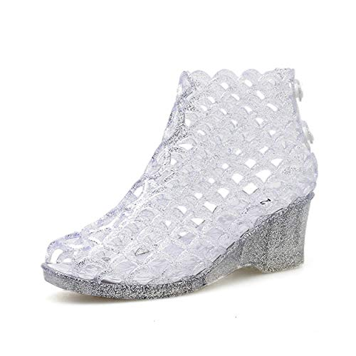 xsby Womens Summer Heels Sandals Peep Toe Wedge Hollow Glitter Jelly Shoes High Platform Silver 37