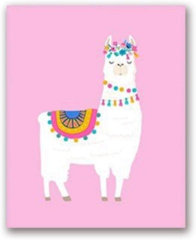 LGYLucky Lama-Kaktus-Kinderzimmer-Wand-Kunst-Leinwand-Druck Nordic Cartoon Animals Alpaca Gem/älde Bild M/ädchen Schlafzimmer Wohnkultur,B,A3 30x42 cm No Frame