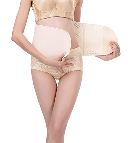 Breathable Elastic Waist Trimmer Abdominal Binder Post-Pregnancy Belly Band Tummy Compression Postpartum Postnatal Recovery Support Girdle Slimming Invisible Waist Trainer Belt for Women and Maternity