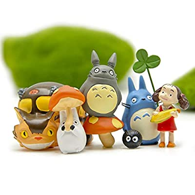 ZAMTAC 6pcs Home Decor Accessories Totoro Figurines Fairy Garden Miniatures Terrarium Bonsai Resin Craft Jardin Micro Landscape Kid Toy: Home & Kitchen