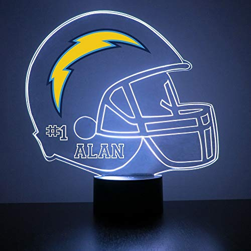 Mirror Magic Store Los Angeles Chargers Football Helmet LED Night Light with Free Personalization - Night Lamp - Table Lamp - Featuring Licensed Decal