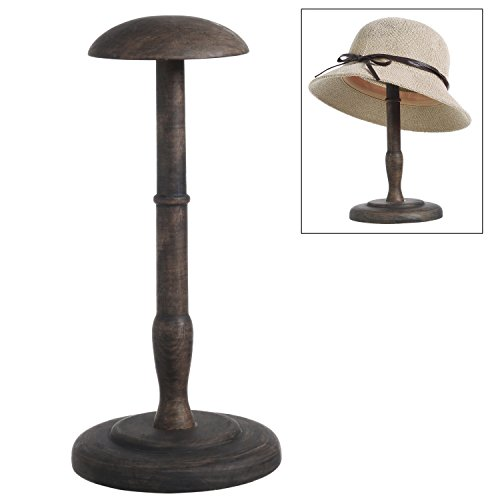 (MyGift 13-Inch Antique Brown Wood Hat & Wig Display)