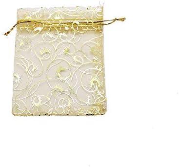G.Y.X 2020バッグ包装50/100個ゴールドまつげオーガンザジュエリーポーチ9x12cmシャンパンウェディングパーティーの好意バッグギフトリングジュエリー (色 : Gold Eyelash, サイズ : 100pcs)