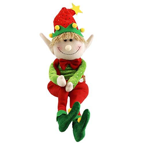 WEWILL 22'' Stuffed Elf Christmas Decoration Adorable Elves Figure Plush Toys Xmas OrnamentsRed
