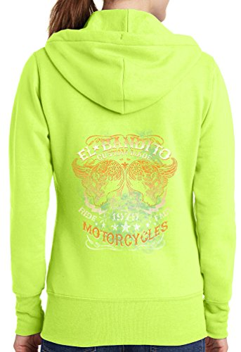 Womens El Bandito Full Zip Hoodie, Neon Yellow, 3X