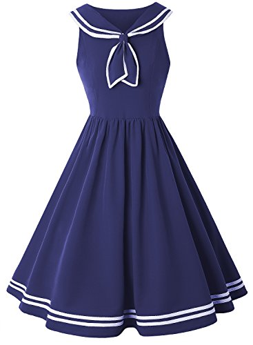 ZAFUL Women Vintage Dress 1950s Nautical Style Summer Sailor Collar Sleeveless Cute Cocktail Party Swing Dresses(Blue,S) by ZAFUL
