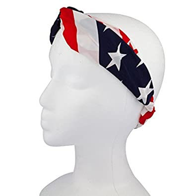 Lux Accessories American Flag Stars Stripes 4th of July Stretch Headband  Head Band  Lux Accessories  Amazon.co.uk  Jewellery 95285c4a0f57