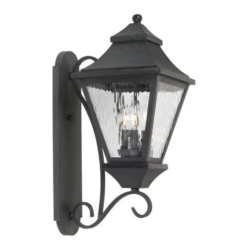 Elk 5701-C 8 by 22-Inch East Bay Street Water Glass 3-Light Outdoor Wall Lantern, Charcoal Finish