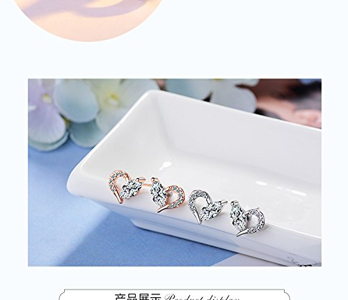 Flash Diamond Earrings earings Dangler Eardrop s925 Silver Heart-Shaped Fox Tail Creative Gift Accessories Women Girls Gift Woman ()
