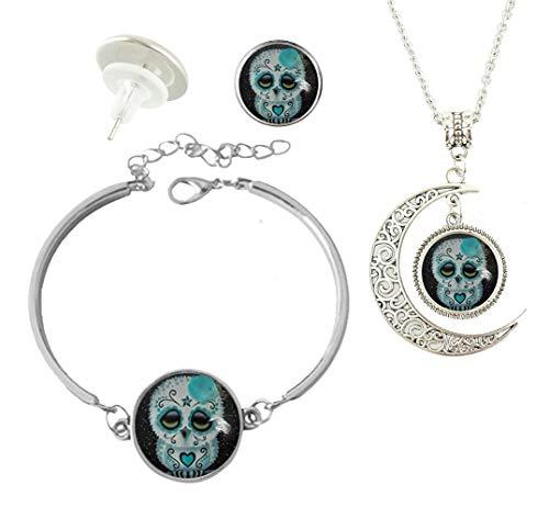 Baoquan Sugar Skull Owl Stars Custom Fashion Charm Silver Plated Hollow Crescent Pendant Necklace Stud Earring Bracelet Jewelry Set