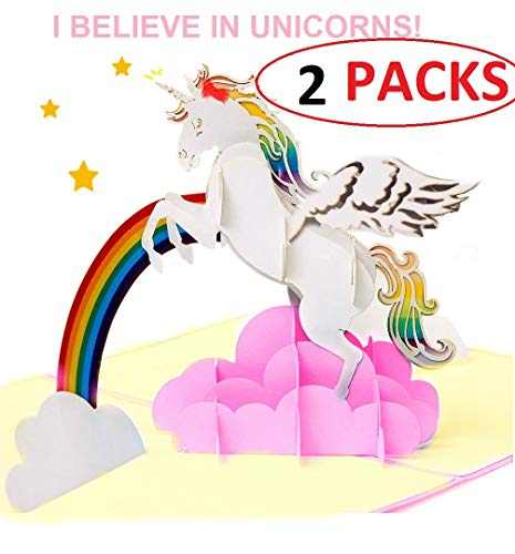2 Packs- Unicorn Pop Up Cards & Little Pony- Dreams Come True,All Occasion,Birthday,Christmas,Engagement,Get Well,Graduation,New Year's, Sympathy,Goodluck for Kids, Daughter,Friends,Niece,Sister