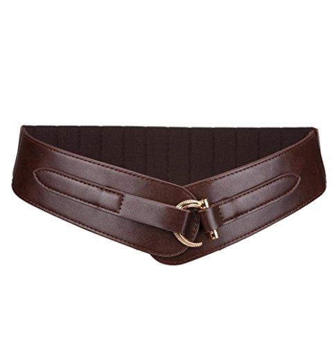Brown Leather Western Belt (Vintage Western Women Leather Wide Belt Buckle Elastic Waist Belt for Dress,Coffee,One Size)