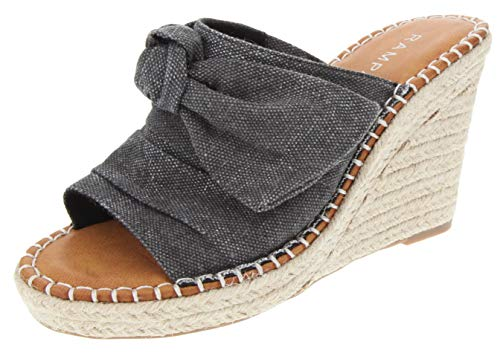 Rampage Women's Hannah Espadrille Wedge Slide Sandal with Knotty Bow Detail 6 Black Washed Canvas