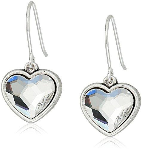 Alex and Ani Womens Crystal Heart Hook Drop Earrings, Rafaelian Silver, Expandable