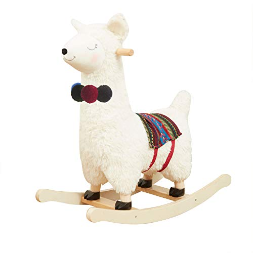 labebe - Baby Rocking Horse Wooden, Plush Stuffed Rocking Animals White, Kid Ride on Toys for 1-3 Years Old, Llama Rocking Horse for Girl&Boy, Toddler/Infant Rocker for Nursery, Kid Riding Toys/Horse
