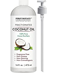 Fractionated Coconut Oil 16 fl. oz - 100% Natural & Pure MCT Coconut Oil for Hair, Skin,and Aromatherapy Carrier Oil , Massage Oil,Best Skin Moisturizer – UV Resistant BPA Free Bottle