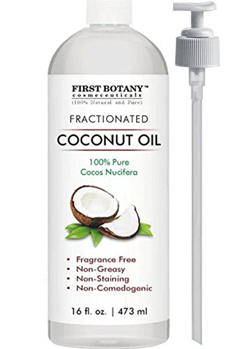 Fractionated Coconut Oil 16 fl. oz – 100% Natural & Pure MCT Coconut Oil for Hair, Skin,and Aromatherapy Carrier Oil , Massage Oil,Best Skin Moisturizer – UV Resistant BPA Free Bottle