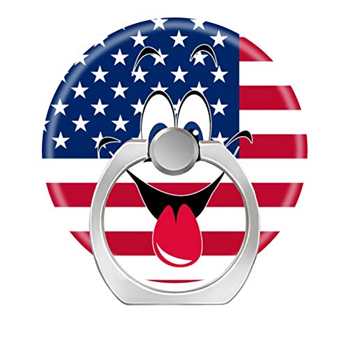 one Ring Holder Stand,Finger Ring Grip Car Mount Hooks Smartphones Tablets-Smiley face Sticking Tongue Out America Flag ()