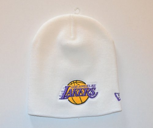 Classic Toque - Los Angeles Lakers White Knit Classic Beanie Cap - NBA LA Cuffless Toque Hat