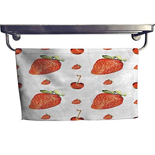 warmfamily Dry Fast Towel Cherry and Strawberry Seamless Pattern Towel W 20