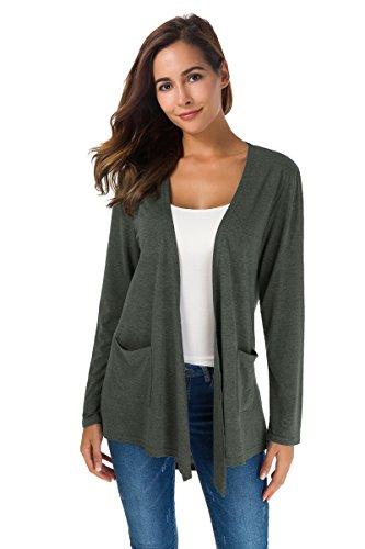 NB Women's Extra Soft Natural Classic Long Sleeve Irregular Hem Open Drape Style Cardigan with Pocket