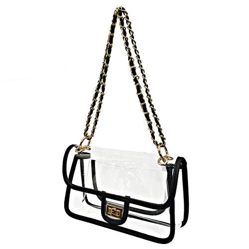 (Laynos Clear Purse Turn Lock NFL Approved Chain Waterproof Crossbody Shoulder Bags Handbags Black)